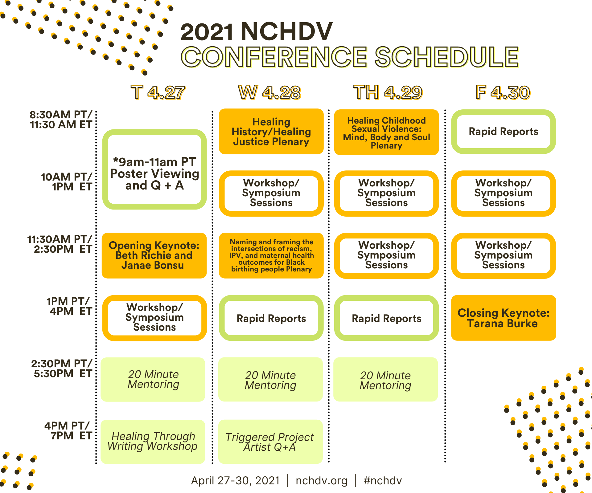Picture of conference schedule in English. To view the schedule with a screen reader visit https://nchdv.confex.com/nchdv/2020/meetingapp.cgi/Day/2021-04-27.