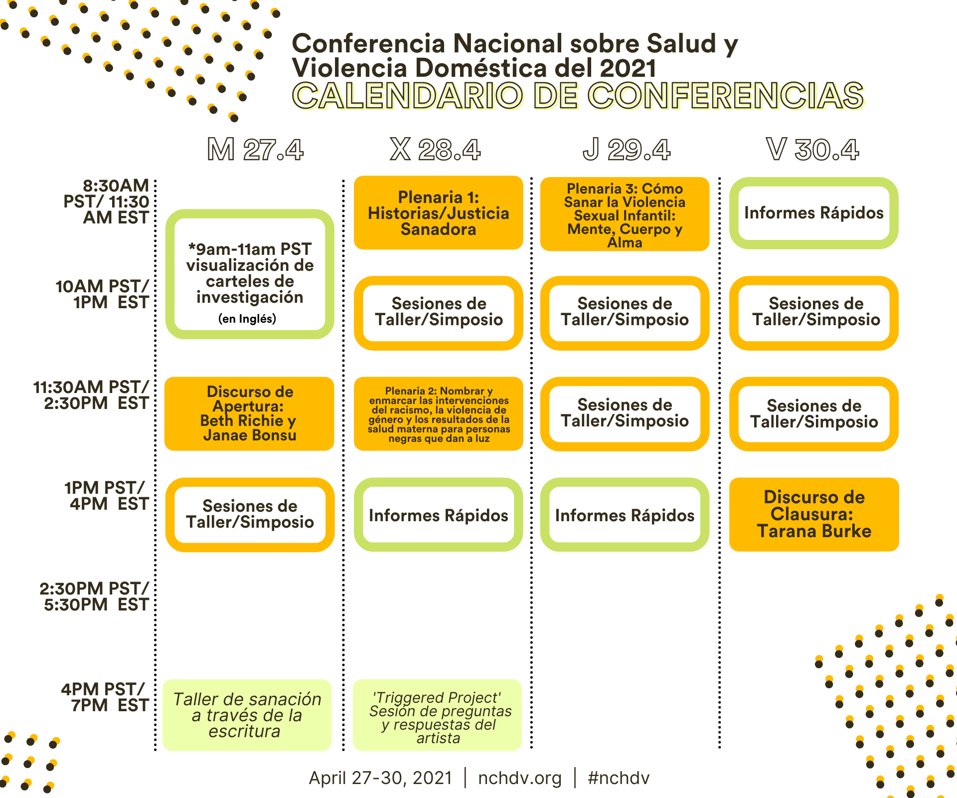 Conference schedule in Spanish. To view full schedule visit: https://nchdv.org/wp-content/uploads/2021/03/1.png