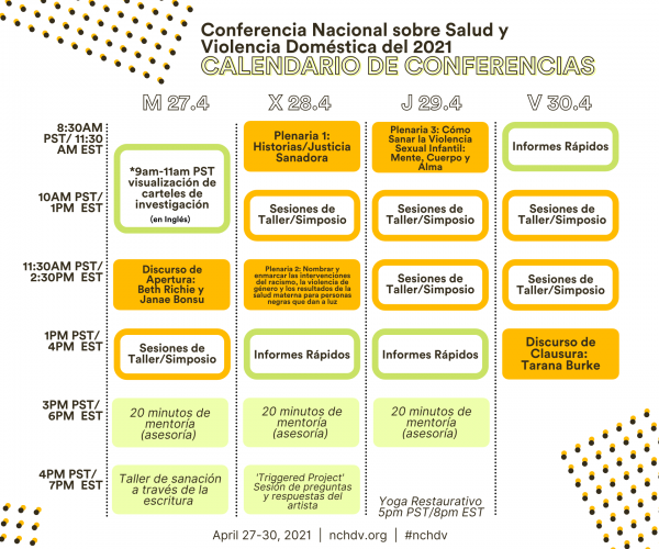 This image is a graphic of the NCHDV schedule in Spanish which can also be found on nchdv.org.